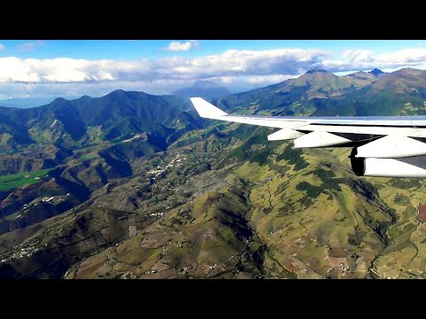 Iberia Airbus A340-300 AWESOME TURBULENT & SCENIC LANDING at Quito Airport | ✈