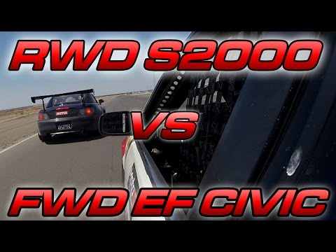 S2000 vs EF Hatch - RWD vs FWD Track Battle!