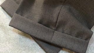 Подгибка брюк с манжетом(Здравствуйте,сегодня я вам покажу как укоротить элегантные мужские брюки с манжетам и тесьмой. Отмеряем..., 2014-04-27T10:28:36.000Z)
