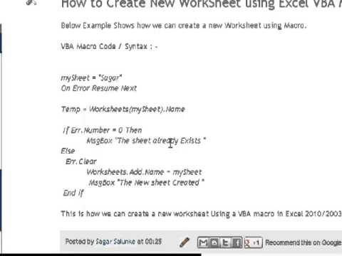 rename new sheet vba how to create new worksheet using excel vba macro youtubevba add and. Black Bedroom Furniture Sets. Home Design Ideas
