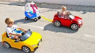Little Girl Elis Ride On BMW Power Wheel with brother Thomas Audi RS TT quatro and Little Tikes