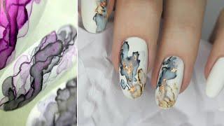 Акварельная техника Акварель на ногтях Мраморный маникюр Текстура камня на ногтях акварелью
