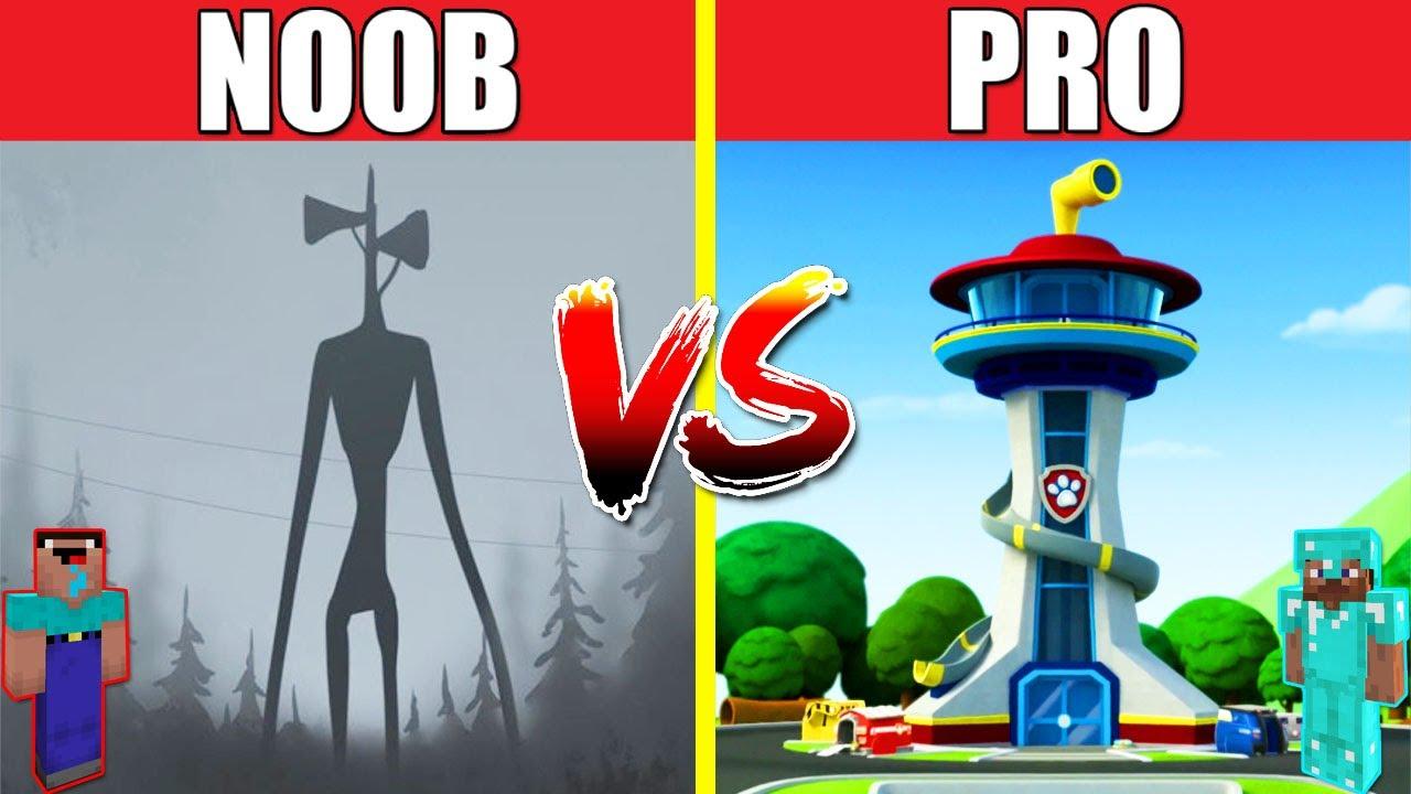 SIREN HEAD VS PAW PATROL HOUSE BUILD CHALLENGE - NOOB vs PRO vs HACKER vs GOD / Minecraft Animation