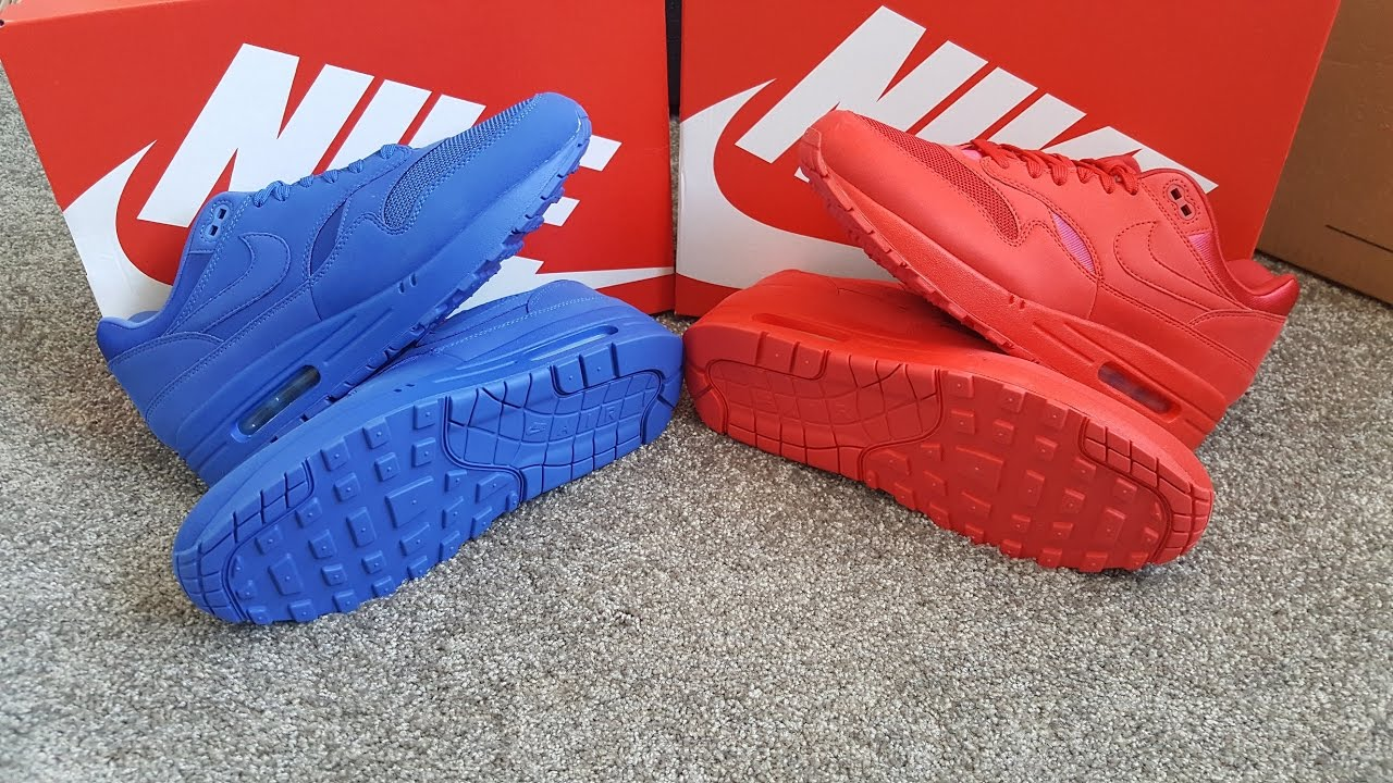 unboxing unpacking Nike Air Max 1 Tonal Red & Blue 30th anniversary