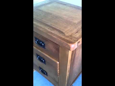 Devon Rustic Oak 3 Drawer Bedside Table- Drawer Closed