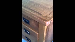 Devon Rustic Oak 3 Drawer Bedside Table- Drawer Closed