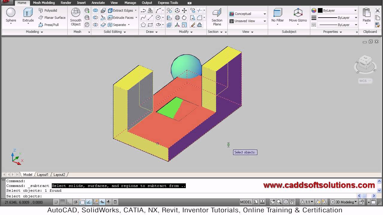 AutoCAD 3D Union, Subtract & Intersect Command Tutorial | AutoCAD 3D Hole |  AutoCAD 2010