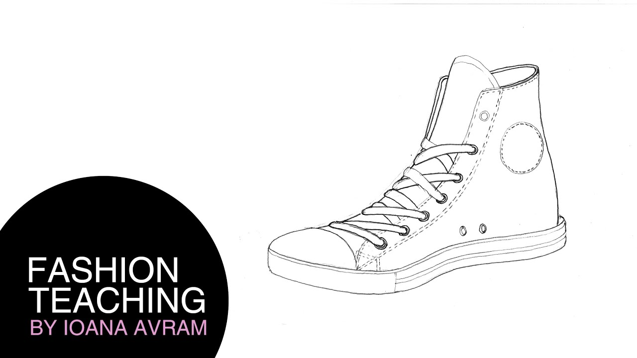 How to draw converse shoes - YouTube