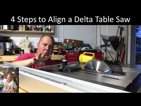 4 steps to align a Delta table saw