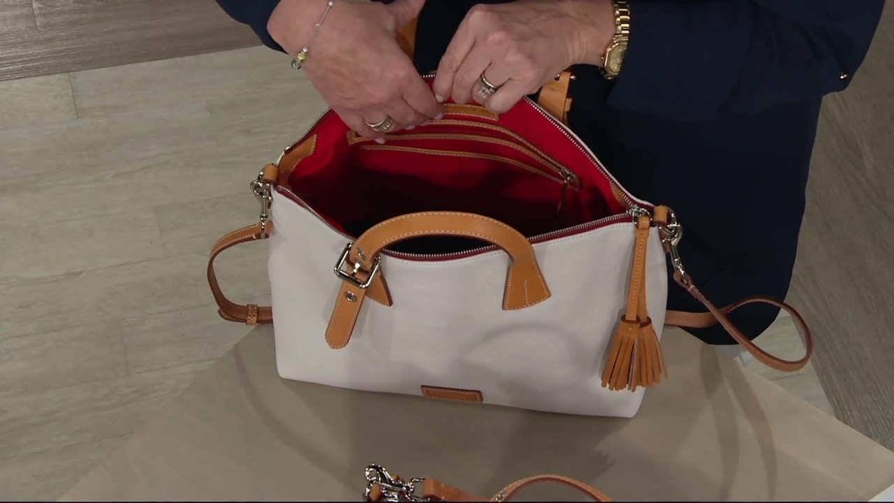 e9e70b77a602 Dooney   Bourke Pebble Leather Trina Satchel on QVC - YouTube