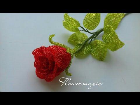 Нежная роза из бисера часть 2