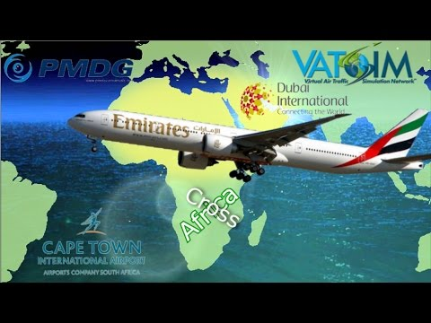 PMDG 777 flies FT Dubai to NMG Cape Town on Vatsim.