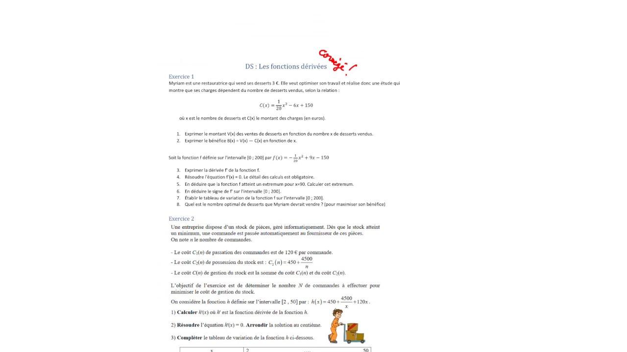 Correction Devoir Sur Les Fonctions Derivees Terminale Bac Pro Youtube