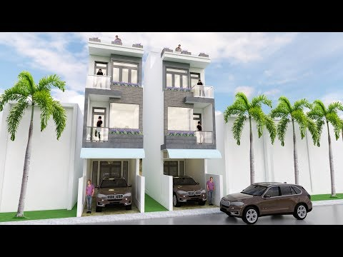 Sketchup modern narrow house design 3.5 x 18 meter