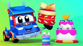 Baby Trucks - It's BABY CAR's BIRTHDAY! - Learning cartoons for kids with trucks in Car City