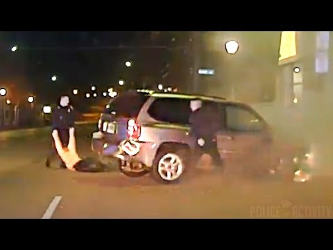 Police pull drunk driver from burning car after pursuit