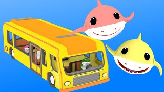 Wheels on the Bus with Baby Shark Family | Baby Shark Sing & Dance + More Nursery Rhymes