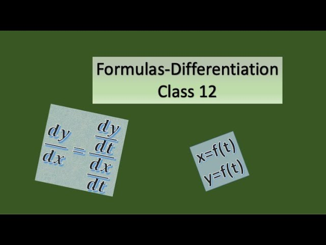 Formulas in Differentiation-Mathematics-Class 12-ISC-CBSE