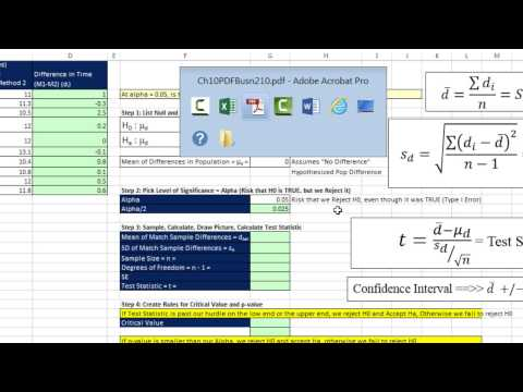 Excel 2013 Statistical Analysis #68: Matched/Paired Samples