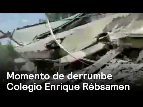Momento del derrumbe de Colegio Enrique Rébsamen
