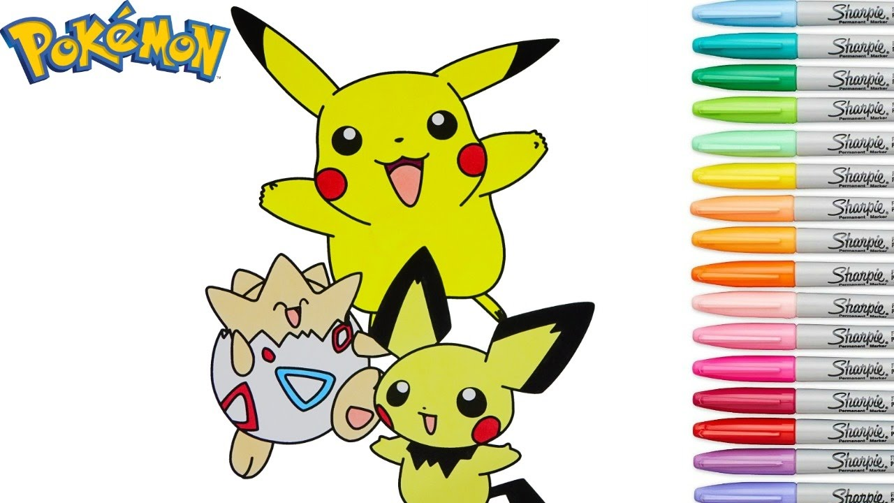 Pokemon Coloring Book Pikachu Pichu Togepei Episode Colouring Pages Rainbow Splash