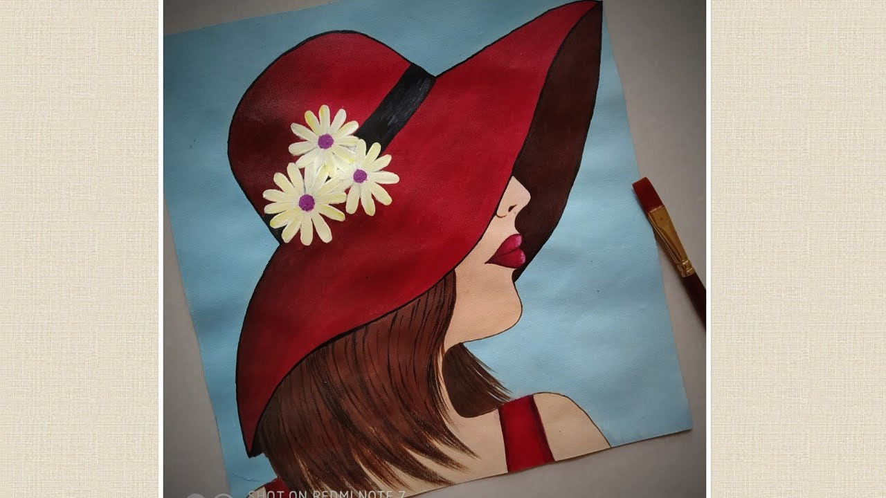 Lady In Red Hat Step By Step Acrylic Painting For