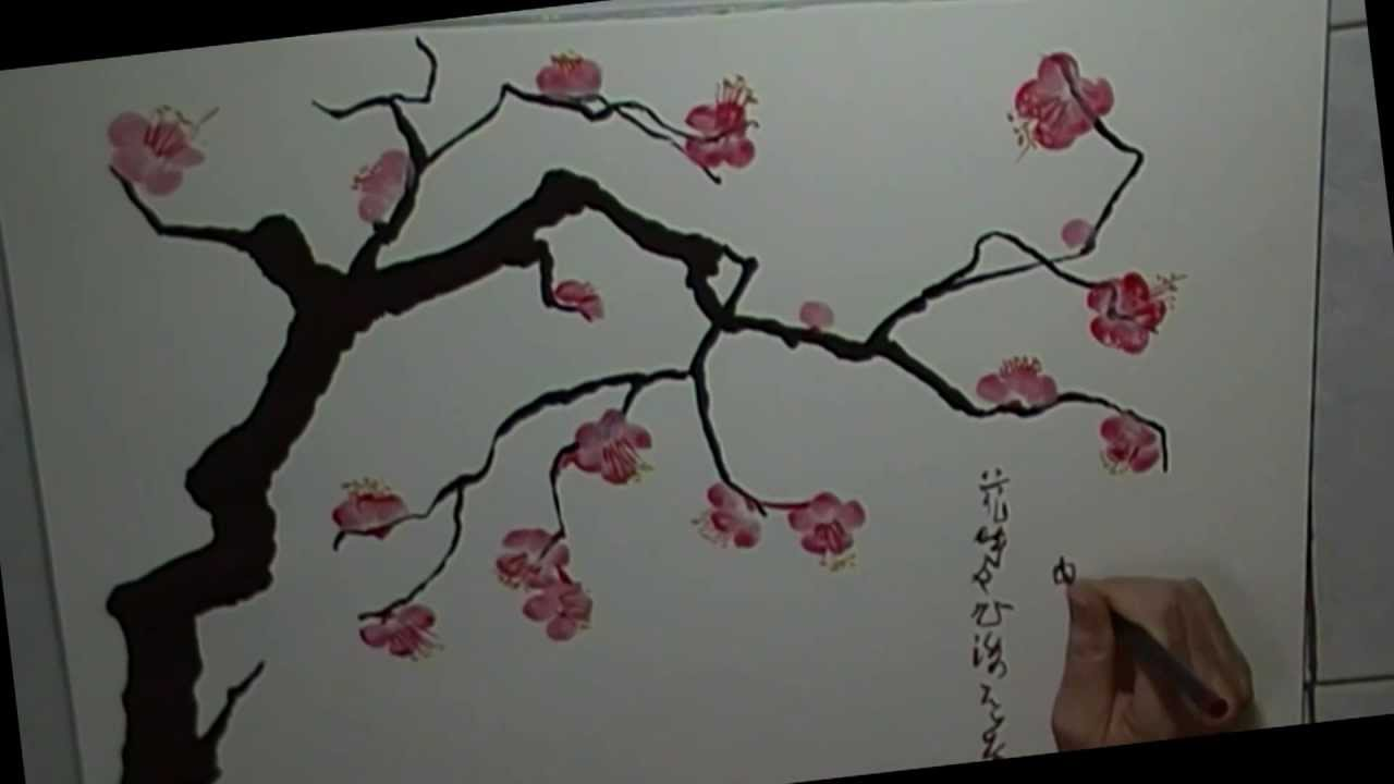 Chinese plum blossom brush painting youtube for Simple cherry blossom painting