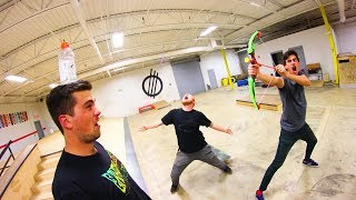 TOY BOW AND ARROW TRICK SHOTS!