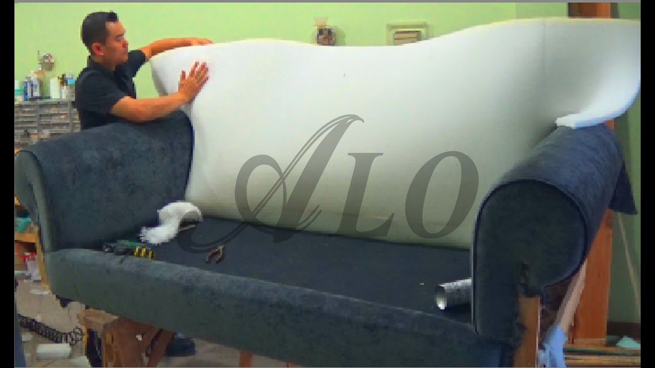 diy how to reupholster a sofa alo upholstery doovi. Black Bedroom Furniture Sets. Home Design Ideas