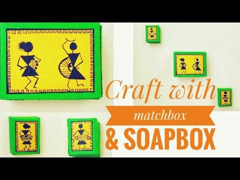 Matchbox craft idea /Diy wall decor from matchbox/easy warli painting wall decor
