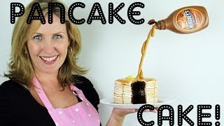 Pancake Illusion Cake with Suspended Syrup Bottle - a Cupcake Addiction How To Tutorial