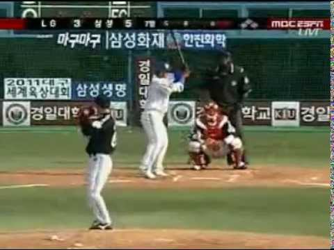 LG Twins pitcher Kim Kyung-Tae throwing knuckleball to Samsung Lions