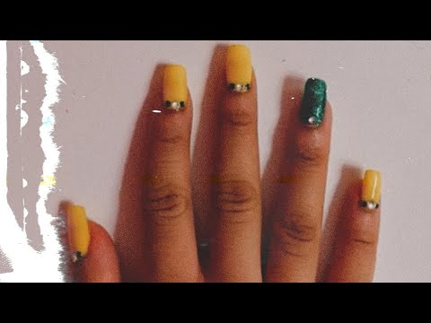easy yellow and green nails tutorial with cuticle crystals
