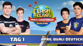 Clash of Clans Weltmeisterschaft | April Quali Tag 1 | Clash of Clans deutsch live