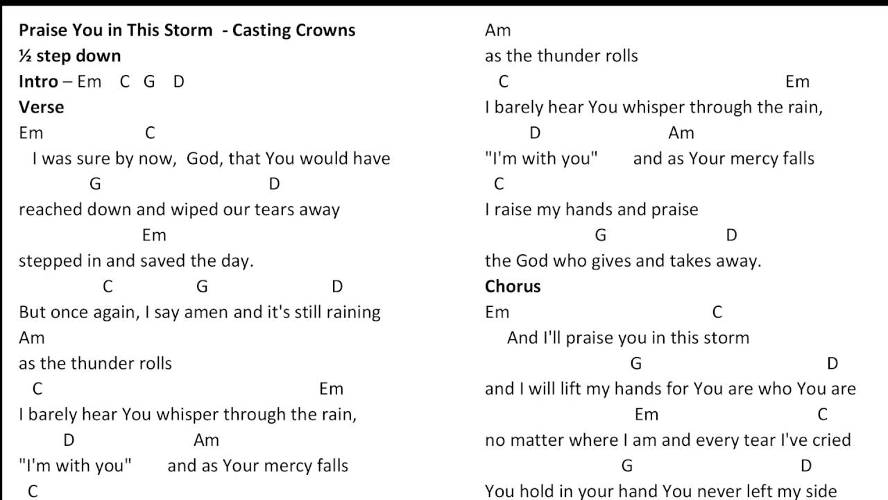 Praise you in this storm casting crowns 12 step down chords youtube praise you in this storm casting crowns 12 step down chords hexwebz Image collections
