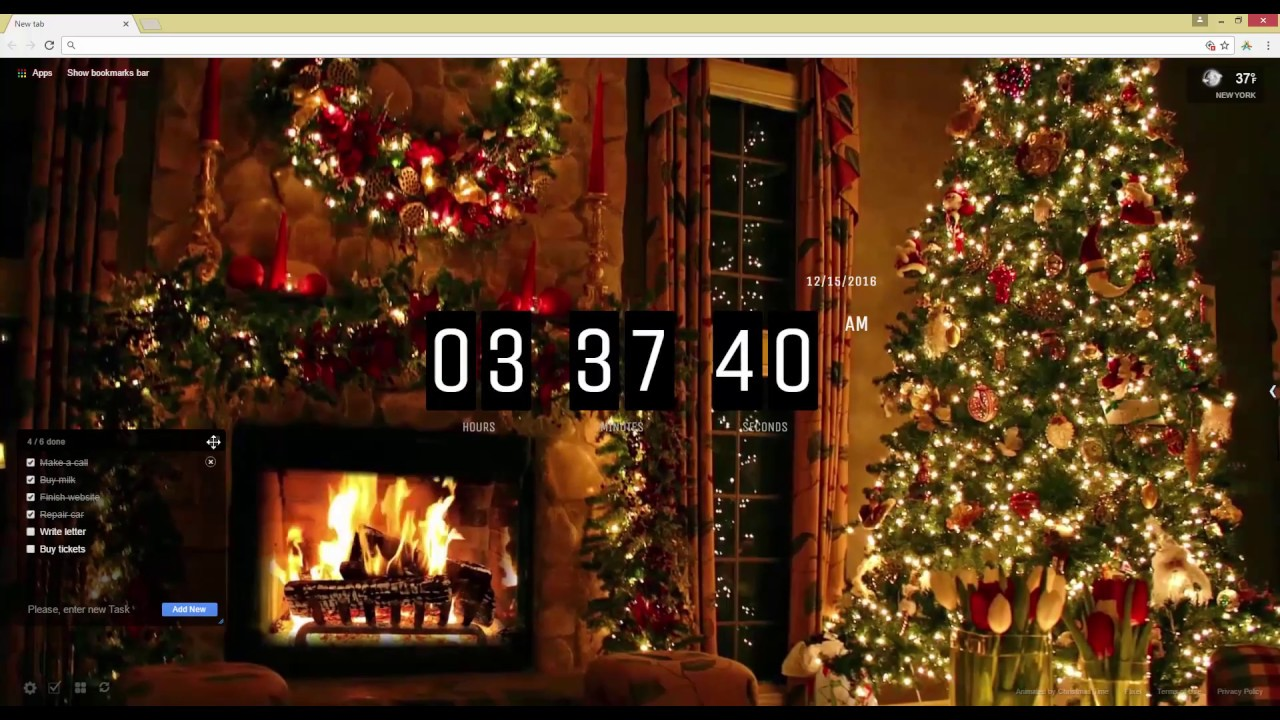 christmas tree and fireplace live wallpaper