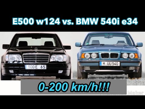 W124 E500 Vs. BMW 540i E34 0-200 Km/h Accelerating