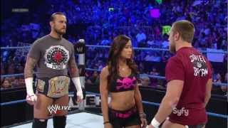 AJ Lee Kisses CM Punk and Daniel Bryan - WWE Smackdown Live 7/3/12 (The Great American Bash) 720 HD