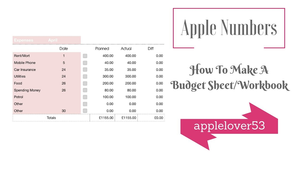 How to make a budget sheet/workbook in Apple Numbers