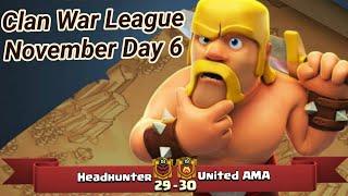 Headhunter vs United AMA | War League November Recaps | champions League 3 | COC clash of clans 2018