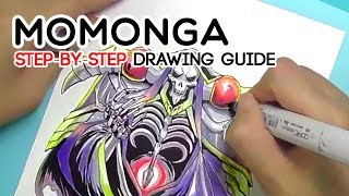 1-Minute Tutorial : Ainz Ooal Gown / Momonga from Overlord (Ink & Copic Markers) Timelapse