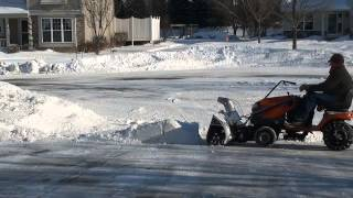 Husqvarna Tractor With Sears Craftsman 42-Inch Snowblower Attachment - How To Clear Driveway Of Snow