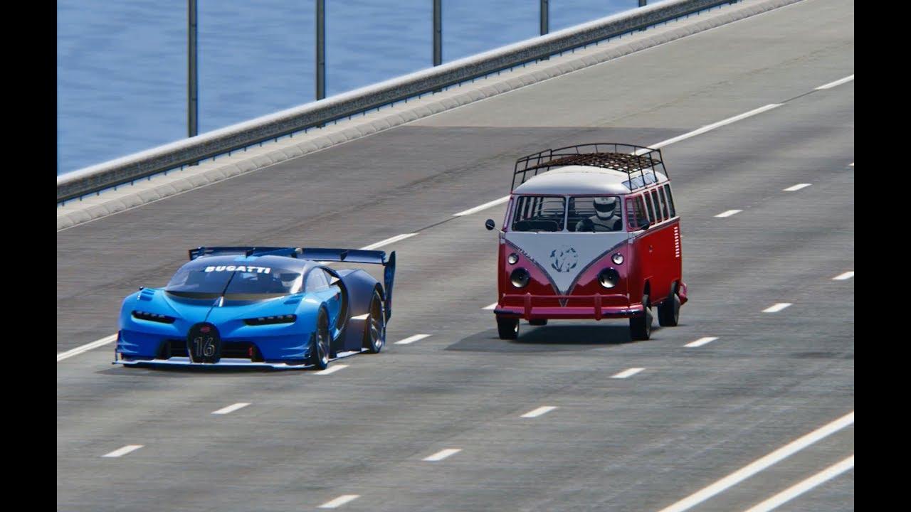 bugatti vision gran turismo vs volkswagen t1 - top speed battle