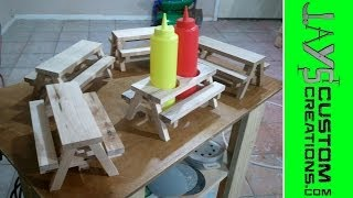Mini Picnic Table Condiment Holders - 091
