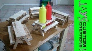 Mini Picnic Table Condiment Holders - 091
