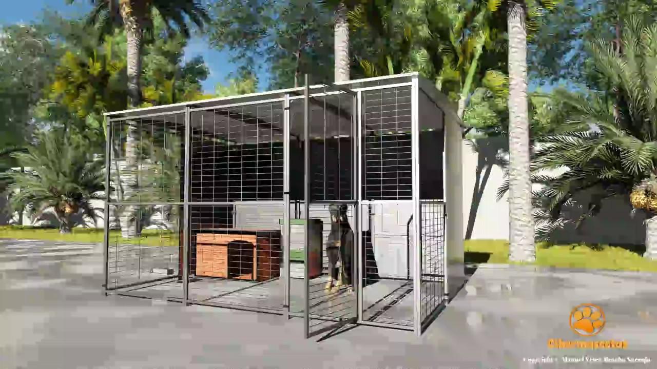Perrera para perros 3x2 techada youtube for Puerta para perros