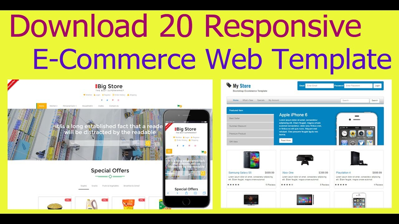 download 20 responsive e-commerce free web template 2017 - 100  free
