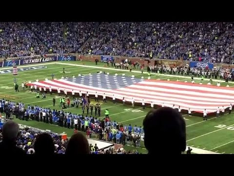 Sabrina Carpenter performing the National Anthem Thanksgiving day 2015 at #FordField #NFL #NFLonFox