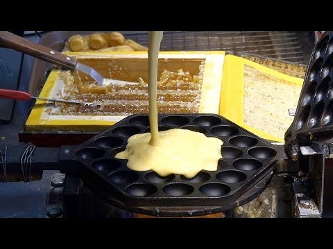 Honeycomb & Whipped Cream Egg Waffle 雞蛋仔 – Korean Street Food / Busan, Korea
