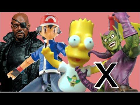 Bart Simpson Simpsons Ash Pokemon  Nick Fury SHIELD Marvel Legends X  Duende Verde Brinquedos Toys